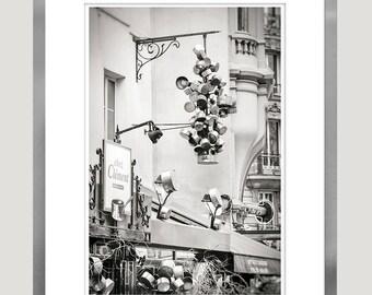 Large kitchen wall art Paris cafe print, Paris black and white photography, grey kitchen wall decor 12x18, 16x24, 20x30, large poster