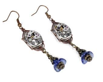 Steampunk Jewelry Earrings ELGIN Watch Movements Copper Czech Blue Bell Flower Dangle ART DECO Wedding Anniversary - Jewelry by edmdesigns