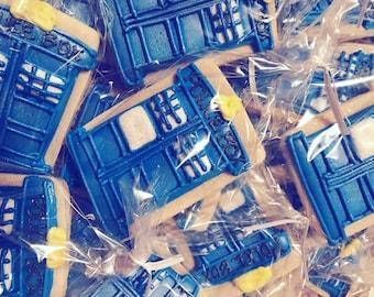 Tardis Cookies- Doctor Who Inspired Cookies-British TV- party favors-birthday cookies-school cookies