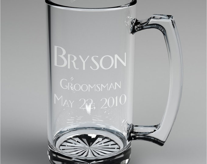 3 Personalized Groomsman Beer Mugs Custom Engraved Wedding Gift.