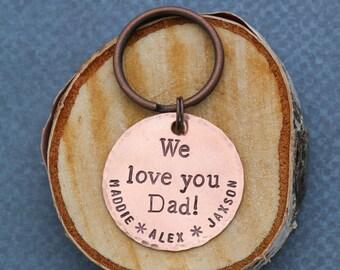 Personalized Dad Keychain • Custom Copper Keychain • Custom Daddy Gift • Grandpa Gift • Grandfather Gift • Papa Gift