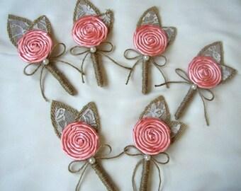 Wedding Boutonniere, Peach Coral Boutonniere, Groom Rustic Corsage, Burlap Wedding, Mens Flower Pin, Groomsmen, Burlap Lace Boutineers