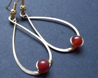 bronze earrings with carnelian stone