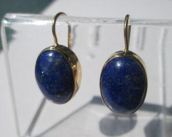 Gold 9kt Lapis Lazuli Dangle Earrings, French Wire Closure, Lapis Lazuli Earrings, Gold Lapis Lazuli Earrings Gold Lapis Lazuli Dangles