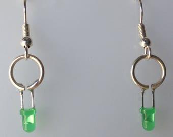 Green LED Earrings