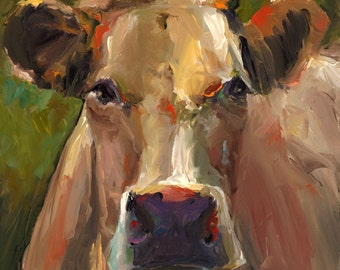 Cow Painting - Natasha  - Print of an Original Acrylic Painting by Cari Humphry