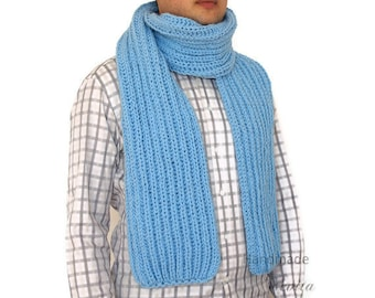 Men Knit Scarf in bright blue, Hand knitted mens scarf in blue