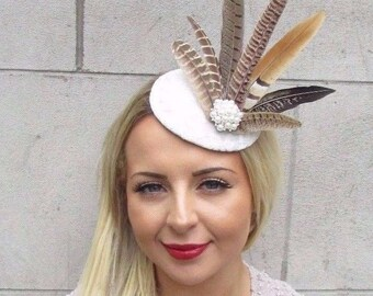 White Brown Pheasant Statement Feather Fascinator Pillbox Races Hat Wedding 3180