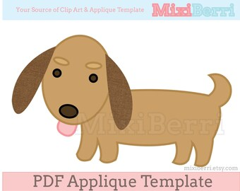 Dachshund Dog Applique Pattern PDF Applique Template Animal Instant Download