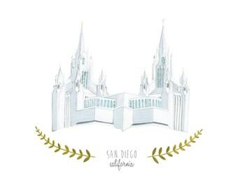 San Diego California LDS Temple Illustration - Archival Art Print