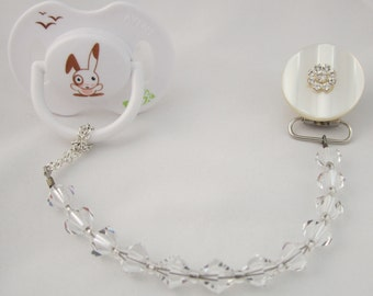 White Sparkling Pacifier clip with Swarovsky Crystals (CSW)