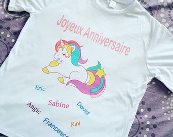 """T shirt Unicorn """"Happy birthday"""" personalized (first name)"""