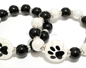 Pet Lover Beaded Bracelet, Black, White, Stretchy, Pet Owner, Dog Lover, Custom, Handmade Beaded Jewelry