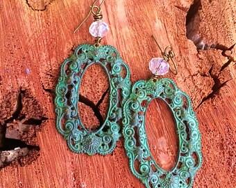Filigree earrings boho earrings patina earrings rustic earrings. blue earrings mint  earrings gift under 15