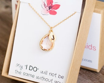 Bridesmaid personalized necklace Peach Gift Party Jewelry Letter Initial Bridal Wedding gold necklace bridal set of 4 5 6 7 8 9 /324