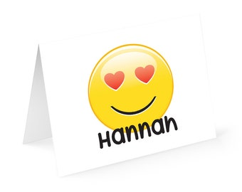 Emoji Happy Face Personalized Note cards with matching address labels