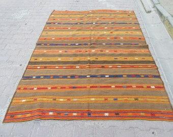 6.1x8.2 Ft Vintage striped decorative Turkish kilim rug