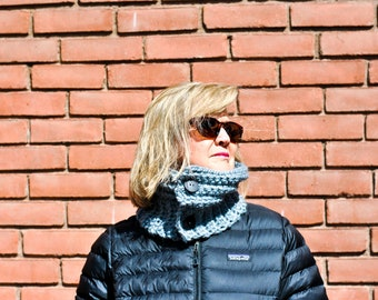 Crochet Grey Neck Warmer with Black Buttons