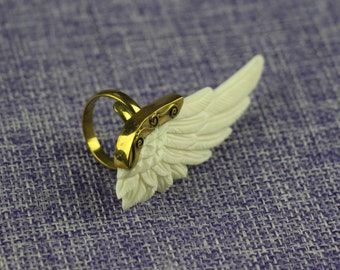 Handmade Ring the White Angel Wing