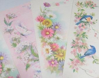 Pretty Fold a Note Vintage Stationery - Seal n Send Butterflies Bluebirds & Flowers