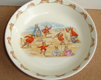 Vintage Bunnykins Cricket Game (LF12) Porridge/Cereal Bowl Royal Doulton