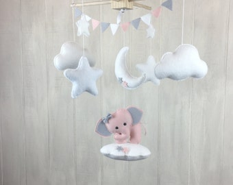 Baby mobile - elephant mobile - cloud mobile - star mobile - elephant nursery - nursery decor - blush and grey - moon mobile - star mobile