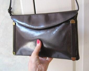 Vintage Darkest brown  leather small shoulder bag, sleek rectangular brown leather clutch bag, bag with detach  strap, special event bag