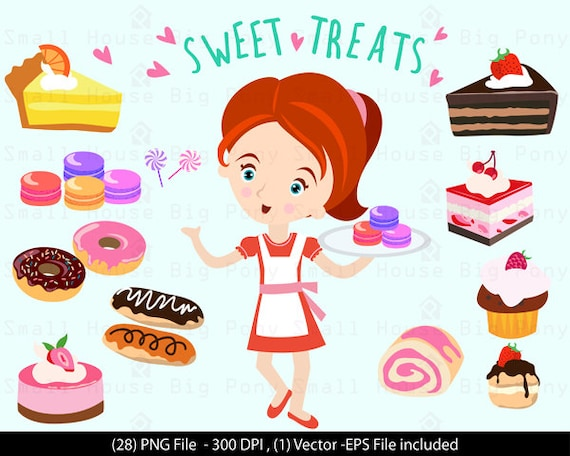 Digital Clipart - Girl with Sweet Treats Clip Art / Digital Clip art/ dessert clip art,  - Vector Clipart, Dessert Shop Clipart