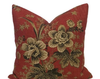 Waverly Designer Farmhouse Pillow // Red Brown Floral Throw Pillow Cushion Cover French Country Cottage Decor Decorative Lumbar Toss