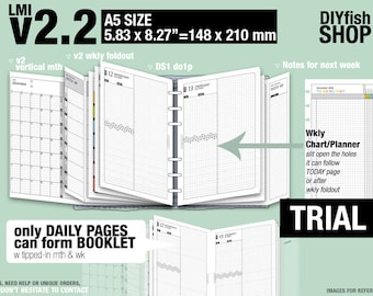 Trial [A5 v2.2 w DS1 do1p] July to September 2018 - Filofax Inserts Refills Printable Binder Planner Midori.