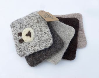 Wool scrubbing pads set of five felted wool scrubbies ready to ship