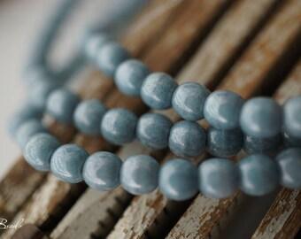 Denim Luster, Druk Beads, Czech Beads, 9-5