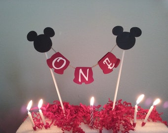 Mickey Birthday- Mickey Mouse Birthday Topper Set- Mickey First Birthday- Mickey Mouse 2nd birthday