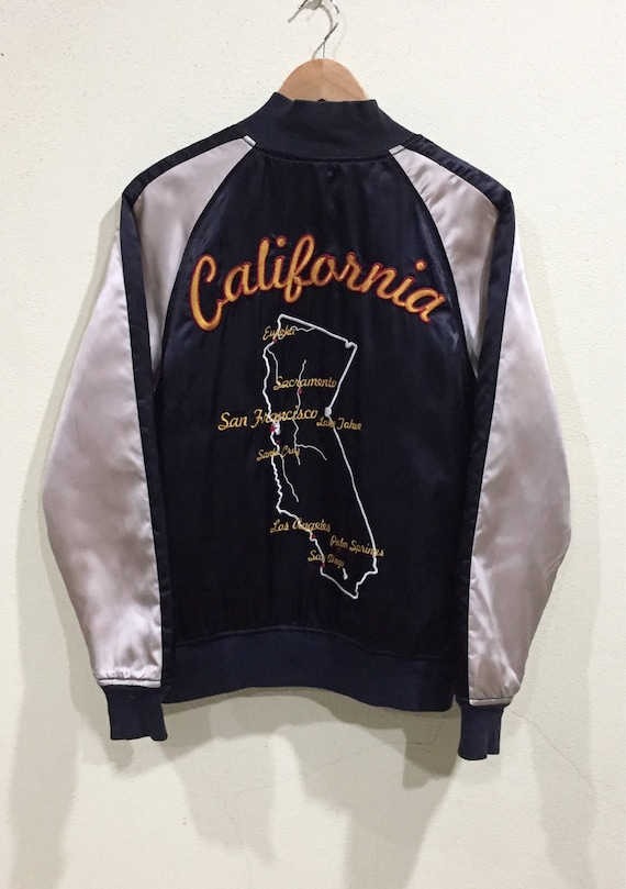 Levis California USA Art Souvenirs Hawk Map Japanese Bomber Francisco Vintage Zipper Sukajan San Eagle Rare Embroidery Szx05qnw