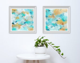 Diptych Printable Art - Set of 2 Abstract Art Prints - Square Abstract Prints - Coastal Home Decor - Beach House Decor - 10x10 8x8
