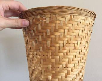 Vintage Wicker Planter - Woven Wicker Basket- Boho Planter- Wicker Collection- Basket Planter- Vintage Boho Decor- Rattan Planter