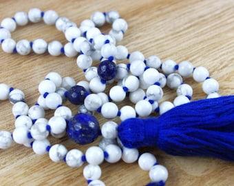 Howlite Knotted Mala Beads // 6mm // Tassel Mala Necklace // Hand Knotted 108 Bead Mala // Prayer Beads // Yoga Jewelry Gift