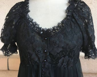 Vintage Black Lace Chiffon Peignoir Night Gown and Robe Set by Tosca of California Size Small