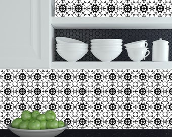 Tiles Decals Set Of Black White Home Design Decoration - Black and white talavera tile