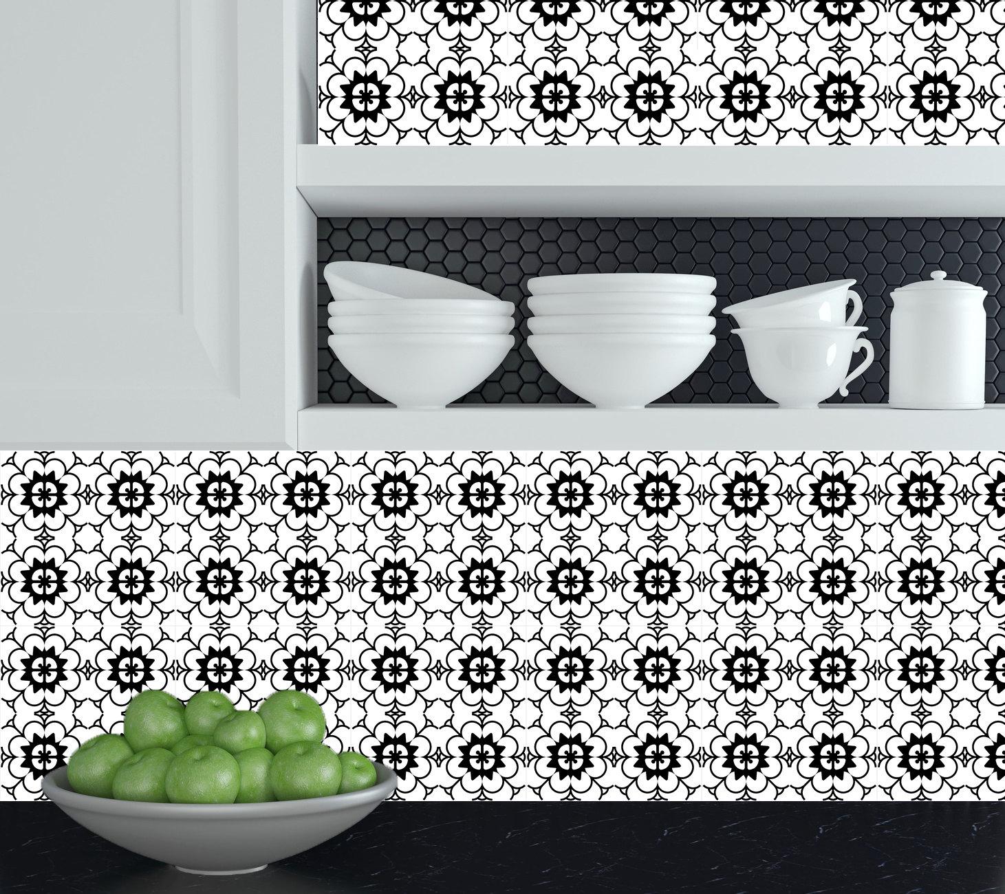 keuken tegels decoratie : Set Van 24 Tegels Stickers Zwart Wit Huisontwerp Decoratie