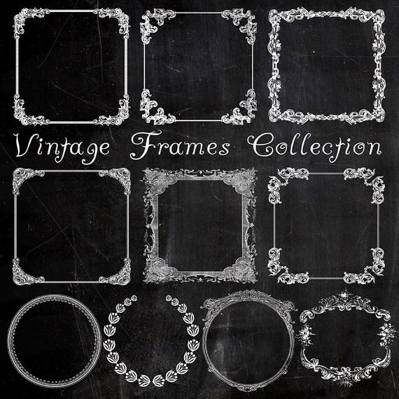 Chalkboard Vintage Frames Digital Clipart, Set of 10 White Printable ...