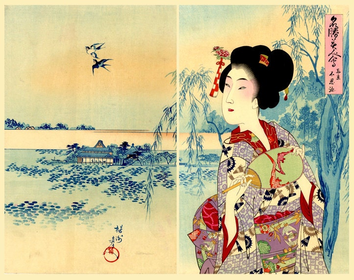 Asian art Japanese art geishas beautiful women art prints.