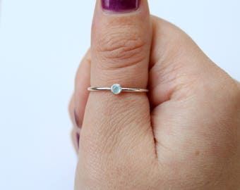 Aquamarine Ring - Sterling Silver - March Birthstone Ring - Dainty Stacking Ring - Promise Ring for Girlfriend - Womens Minimalist Jewellery