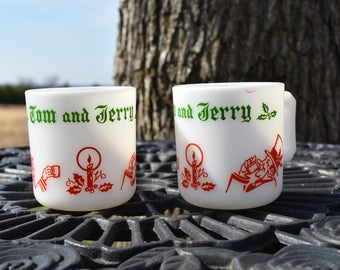 Tom & Jerry Eggnog Milkglass Cups