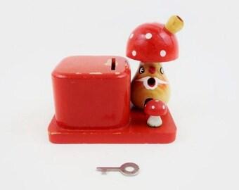Vintage Money Bank Toadstool Figurine in Red