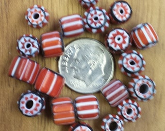 Red/White/Black Glass Chevron Beads