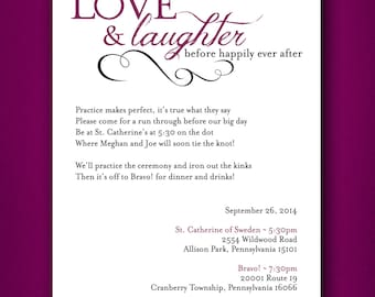 Love & Laughter before happily ever after • Wedding Rehearsal Dinner Invitation •