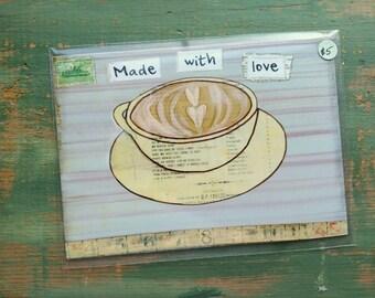 "SALE!  Coffee Print, 5""x7"" Mixed Media Print, Sale Print, Clearance print, Whimsical Coffee, Whimsical print, Coffee Art, Made with Love"