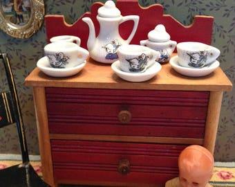 Vintage Miniature Porcelain Doll Tea Set with Goose Decorations