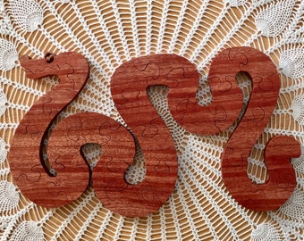 wooden snake puzzle, wooden puzzle, reclaimed Mahogany snake puzzle,  snake puzzle